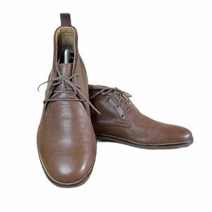 COLE HAAN BROWN PEBBLE LEATHER ANKLE BOOTS